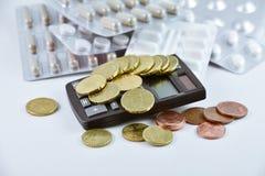 Het concept van medische of ziektekostenverzekeringkosten stock foto