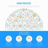 Het concept van het meningsproces in halve cirkel royalty-vrije illustratie