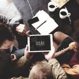 Het Concept van mensenteam working together ideas tablet Stock Fotografie
