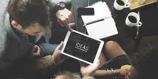 Het Concept van mensenteam working together ideas tablet Stock Afbeelding