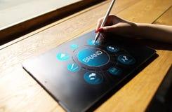 Het concept van het merkbeheer op het virtuele scherm Marketing en Reclame stock afbeeldingen