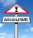 Het concept van het misbruikwaarschuwingsbord Stock Foto