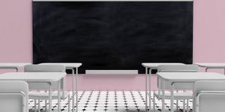 Het concept van het onderwijs Bord in leeg klaslokaal met witte bureaus, tegen roze muurachtergrond en zwart-witte achthoektegels royalty-vrije illustratie