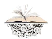 Het concept van het onderwijs Open boek die op het mechanisme liggen 3D illustra Stock Fotografie