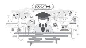 Het Concept van onderwijsinfographic Student en schoolpictogrammen op de achtergrond van de wereldkaart door wordt gecreeerd die Stock Foto's