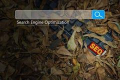 Het Concept van onderzoeksseo online internet browsing web stock foto