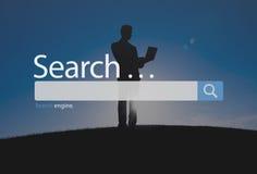 Het Concept van onderzoeksseo online internet browsing web Royalty-vrije Stock Foto