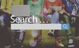 Het Concept van onderzoeksseo online internet browsing web Stock Fotografie
