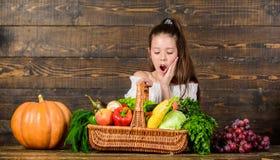 Het concept van het oogstfestival Markt van de stijllandbouwers van het meisjesjonge geitje viert de rustieke met vrolijke het Ki stock afbeeldingen