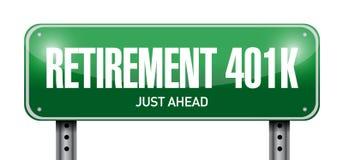 het concept van pensionerings401k verkeersteken royalty-vrije illustratie