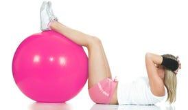 Het concept van Pilates - geschiktheidsmeisje Royalty-vrije Stock Foto