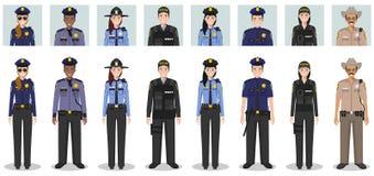 Het concept van politiemensen Reeks verschillende gedetailleerde illustratie en avatars pictogrammen van MEPambtenaar, politieage royalty-vrije stock foto's