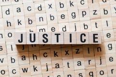 Het concept van het rechtvaardigheidswoord stock foto