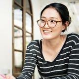 Het Concept van studentenwoman asian ethnicity stock fotografie