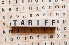 Het concept van het tariefwoord stock afbeeldingen