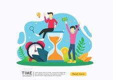 Het Concept van het tijdbeheer planning en strategie voor bedrijfsoplossingen met klok, kalender en uiterst klein mensenkarakter  stock illustratie