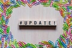 Het concept van het updatewoord stock foto's