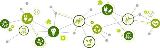 Het concept van het vernieuwbare/alternatieve energiepictogram – groene elektriciteits bronpictogrammen – vectorillustratie stock illustratie