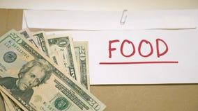 Het concept van voedselkosten stock video