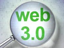 Het concept van het Webontwerp: Web 3 0 met optisch glas Royalty-vrije Stock Afbeeldingen