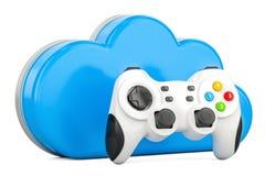 Het concept van het wolkengokken met gamepad, het 3D teruggeven royalty-vrije illustratie