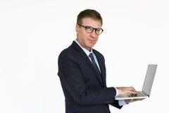 Het Concept van zakenmanlaptop technology working Stock Fotografie