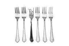 Het concept vastgestelde vorken op voeding en dieet Stock Foto's