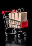 Het concept verkoopboodschappenwagentje met document zakken is geïsoleerd op bla Stock Fotografie