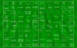 Het concept voetbal aan de achtergrond. Stock Foto