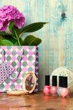 Het concept voor meisjes maakt omhoog abstracte houten achtergrond Royalty-vrije Stock Foto