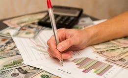 Het concept zaken, bureau, school en geld - een vrouw met een cartografisch document, een winstprogramma en zaken profitabilit stock foto's