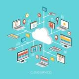 Het concepten 3d isometrische infographic van de wolkendiensten Stock Illustratie