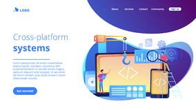 Het concepten landende pagina van de dwars-platformontwikkeling royalty-vrije stock afbeeldingen