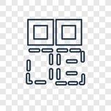 Het concepten vector lineair die pictogram van de Qrcode op transparante backg wordt geïsoleerd stock illustratie