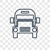 Het concepten vector lineair pictogram van de schoolbus op transparante bedelaars royalty-vrije illustratie