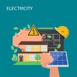 Het concepten vector vlakke illustratie van de zonnepanelenelektriciteit stock illustratie