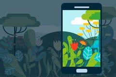 Het concepten vectorillustratie van AR met hi-tech smartphone voor vergrote werkelijkheid Royalty-vrije Stock Foto