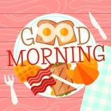 Het concepten vectorillustratie van de ontbijtplaat Hartelijk ontbijt van gebraden eieren en bacon met fsandwich, croissant en stock illustratie