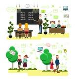 Het concepten vectorillustratie van schoolmensen in vlakke stijl royalty-vrije illustratie