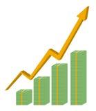Het concepten vectorontwerp contant geld van bedrijfsgrafiekfinanciën Stock Foto