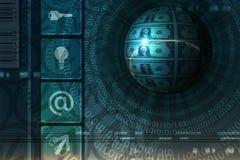 Het conceptenachtergrond van de elektronische handel - blauw Stock Foto's