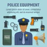 Het conceptenachtergrond van het politiemanmateriaal, vlakke stijl royalty-vrije illustratie