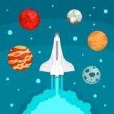 Het conceptenachtergrond van het vlieg ruimteschip, vlakke stijl vector illustratie