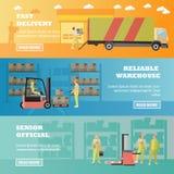 Het conceptenbanner van de logistische en leveringsdienst Het binnenland van het pakhuis Vectorillustratie in vlak stijlontwerp Stock Fotografie