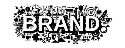 Het conceptenbanner van de merkstrategie, eenvoudige stijl stock illustratie