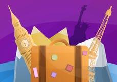 Het conceptenbanner van de wereldreis, beeldverhaalstijl royalty-vrije illustratie