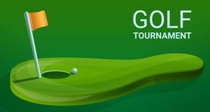 Het conceptenbanner van golftoernooien, beeldverhaalstijl stock illustratie