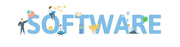 Het conceptenbanner van het SOFTWAREwoord Concept met mensen, brieven, en pictogrammen Vlakke vectorillustratie Geïsoleerd op wit vector illustratie