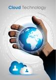 Het conceptenbeeld van de wolkentechnologie om gegevensopslag te tonen Stock Foto