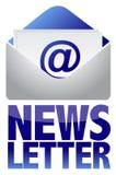 Het conceptenbeeld van het bulletin van tekst en e-mail Stock Foto's